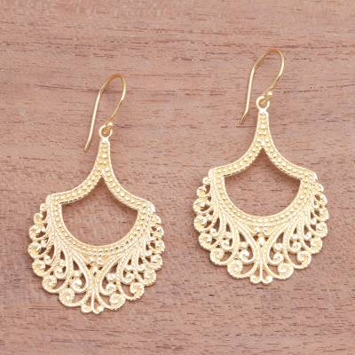 Gold plated sterling silver dangle earrings, 'Jagaraga Glimpse' - Curl Pattern Gold Plated Sterling Silver Dangle Earrings