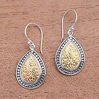 Gold accented sterling silver dangle earrings, Droplet Frames