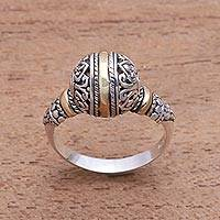 Gold accented sterling silver cocktail ring, Patterned Orb