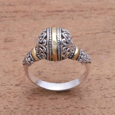 Gold accented sterling silver cocktail ring, 'Patterned Orb' - Round Gold Accented Sterling Silver Cocktail Ring
