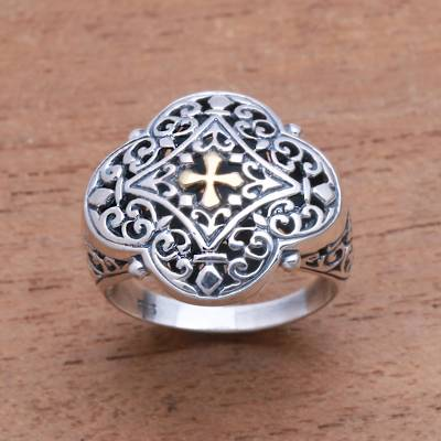 Gold accented sterling silver signet ring, 'Jagaraga Prince' - Cross-Themed Gold Accented Sterling Silver Signet Ring