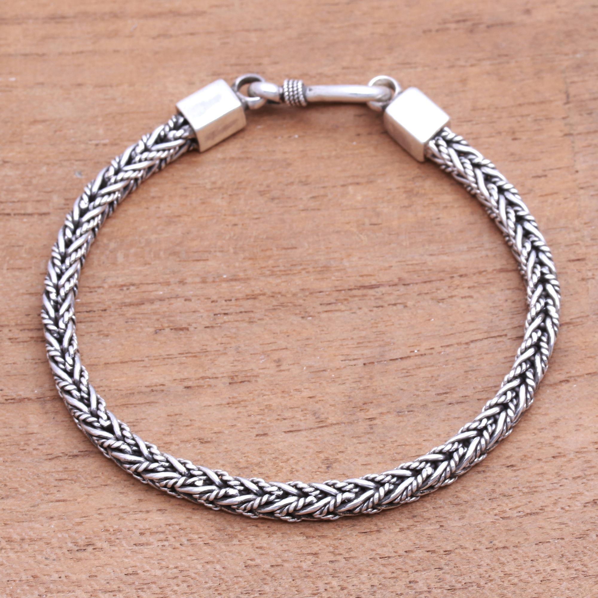 1 Piece Silver Bracelets Bali Chain Belt Bracelet 7 Inch Long