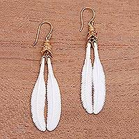 Gold accented bone dangle earrings, 'Feather Twins' - Wing-Themed Gold Accented Bone Dangle Earrings