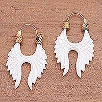 Gold accented bone drop earrings, 'Wing Arches' - Wing-Themed Gold Accented Bone Drop Earrings from Indonesia