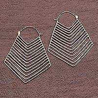 Gold plated drop earrings, 'Chic Chevron' - Chevron Pattern Gold Plated Brass Drop Earrings