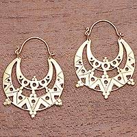 Gold plated hoop earrings, 'Art Deco Shapes' - Art Deco Gold Plated Brass Hoop Earrings from Indonesia