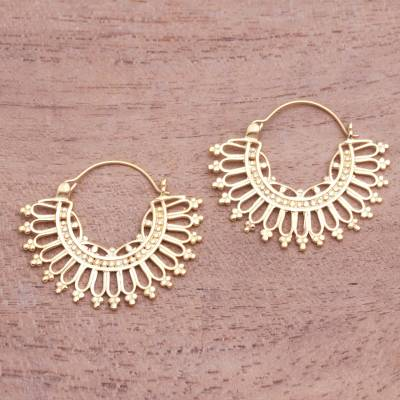Gold plated hoop earrings, 'Midday' - Patterned 18k Gold Plated Brass Hoop Earrings from Indonesia