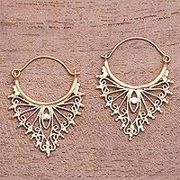 Gold plated drop earrings, 'Fantastic Points' - Openwork Gold Plated Brass Drop Earrings from Indonesia