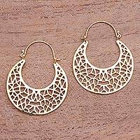 Gold plated hoop earrings, 'Icebreaker' - Geometric Openwork Gold Plated Brass Hoop Earrings