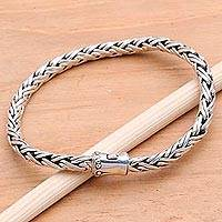Sterling silver chain bracelet, 'Foxtail Trail' - Thick Foxtail Chain Sterling Silver Bracelet