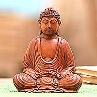 Wood sculpture, 'Let Peace In' - Hand-Carved Suar Wood Buddha Sculpture from Indonesia