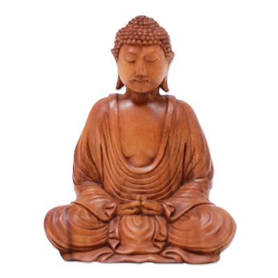 Hand-Carved Suar Wood Buddha Sculpture from Indonesia
