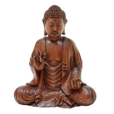 Wood sculpture, 'Enlightened Buddha' - Meditative Suar Wood Buddha Sculpture from Indonesia