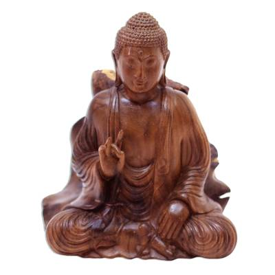Wood sculpture, 'Leave Unrest Behind' - Hand-Carved Hibiscus Wood Buddha Sculpture from Indonesia