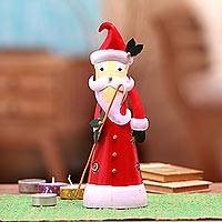 Steel tealight holder, 'Bright Santa' - Steel Santa Tealight Holder Crafted in Bali