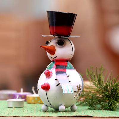 Steel tealight holder, 'Bright Snowman' - Steel Snowman Tealight Holder Crafted in Bali