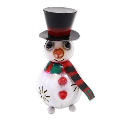 Steel Snowman Tealight Holder Crafted in Bali