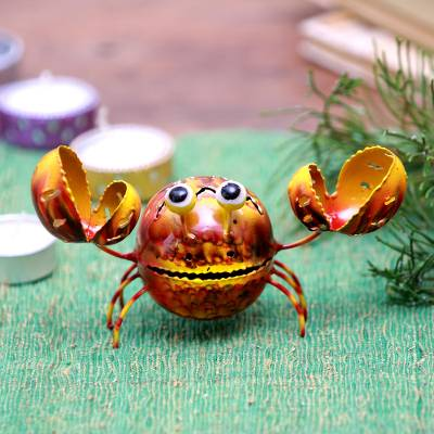 Steel decorative accent, 'Bright Crab' - Handcrafted Steel Crab Decorative Accent from Bali