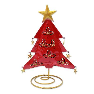 Steel Christmas Tree Tealight Holder from Bali