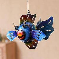 Steel hanging tealight holder, 'Bright Fish' - Steel Fish Hanging Tealight Holder from Bali