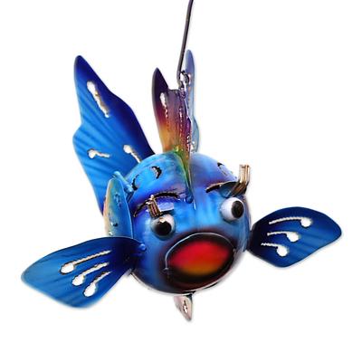 Steel Fish Hanging Tealight Holder from Bali