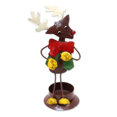 Handcrafted Steel Rudolph Tealight Holder from Bali