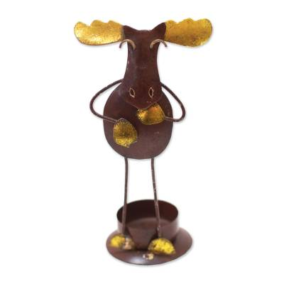 Handcrafted Steel Moose Tealight Holder from Bali