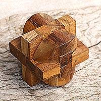 Teakwood puzzle, 'Mental Exercise' - Handcrafted Teakwood Puzzle Crafted in Java