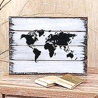 Wood wall sign, 'The World in White' - Wood Wall Sign Map in White from Bali