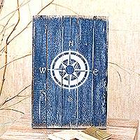 Wood wall sign, 'Guiding Compass in Blue' - Blue Compass-themed Wood Wall Sign from Bali