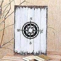 Wood wall sign, 'Guiding Compass in White' - White Compass-themed Wood Wall Sign from Bali