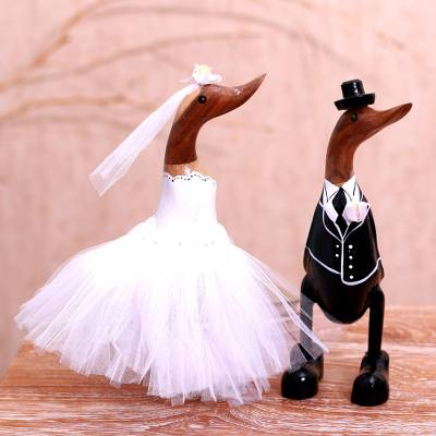 Bamboo root and wood sculptures, 'Duck Wedding' (pair) - Bamboo Root and Wood Duck Wedding Sculptures (Pair)
