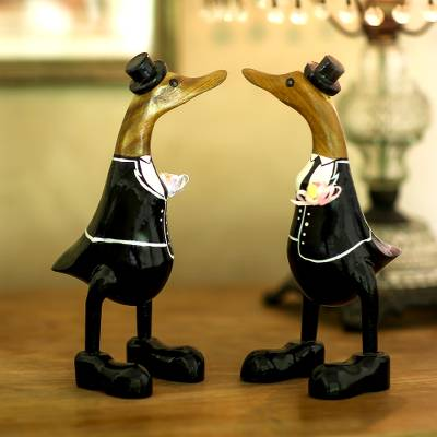Bamboo root and wood sculptures, 'Gentlemen's Love' (pair) - Bamboo Root and Wood Male Duck Wedding Sculptures (Pair)
