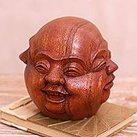 Wood sculpture, 'Catur Muka' - Four-Faced Suar Wood Sculpture Crafted in Bali