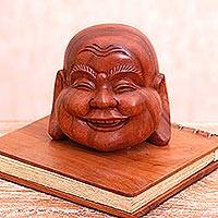 Wood sculpture, 'Jolly Buddha' - Suar Wood Laughing Buddha Sculpture from bali