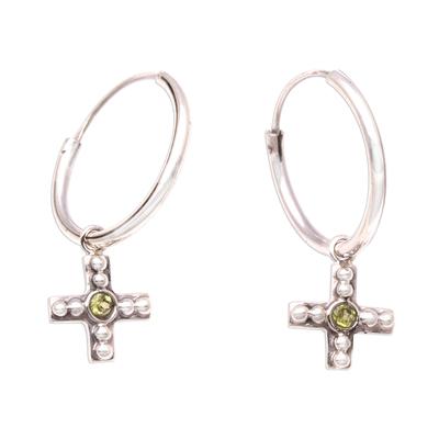 Bubble Pattern Peridot Cross Dangle Earrings from Java