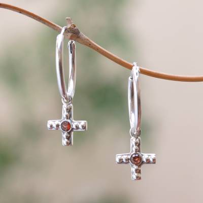 Garnet dangle earrings, 'Faithful Bubbles' - Bubble Pattern Garnet Cross Dangle Earrings from Java