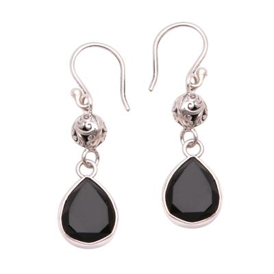3.5-Carat Drop-Shaped Onyx Dangle Earrings from Java