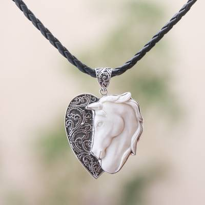 Sterling silver and bone pendant necklace, 'Heart for Horses' - Horse-Themed Sterling Silver and Bone Pendant Necklace