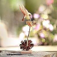 Wood sculpture, 'Sipping Hummingbird' - Wood Hummingbird Sculpture Crafted in Bali