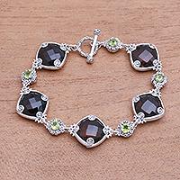 Smoky quartz and peridot link bracelet, 'Buddha Glitter' - 102.5-Carat Smoky Quartz and Peridot Link Bracelet from Bali