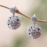 Sterling silver dangle earrings, 'Buddha's Orbs' - Round Curl Pattern Sterling Silver Dangle Earrings from Bali