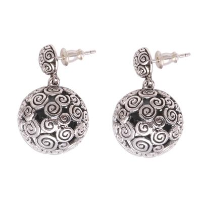Sterling silver dangle earrings, 'Buddha's Orbs' - Round Curl Pattern Sterling Silver Dangle Earrings from Bali