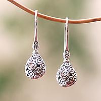 Sterling silver dangle earrings, 'Buddha's Dew' - Curl Pattern Drop-Shaped Sterling Silver Earrings from Bali