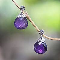 Amethyst dangle earrings, 'Sparkling Buddha'