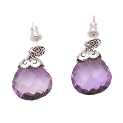 Amethyst dangle earrings, 'Sparkling Buddha' - 20-Carat Amethyst Dangle Earrings from Bali