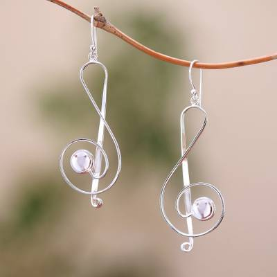 Sterling silver dangle earrings, Gleaming Melody