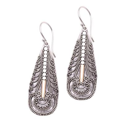 Gold accented sterling silver dangle earrings, 'Balinese Culture' - Handmade Gold Accented Sterling Silver Dangle Earrings