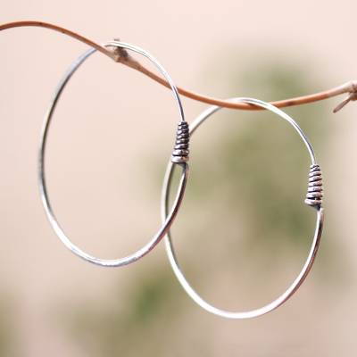 Sterling silver hoop earrings, 'Spiral Tails' - Simple Sterling Silver Hoop Earrings from Bali
