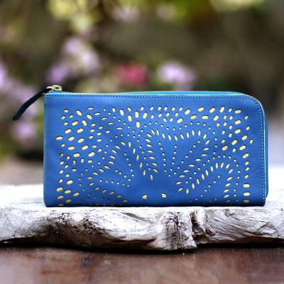 Leather clutch, 'Scattered Stars in Steel Blue' - Floral Pattern Leather Clutch in Steel Blue from Bali